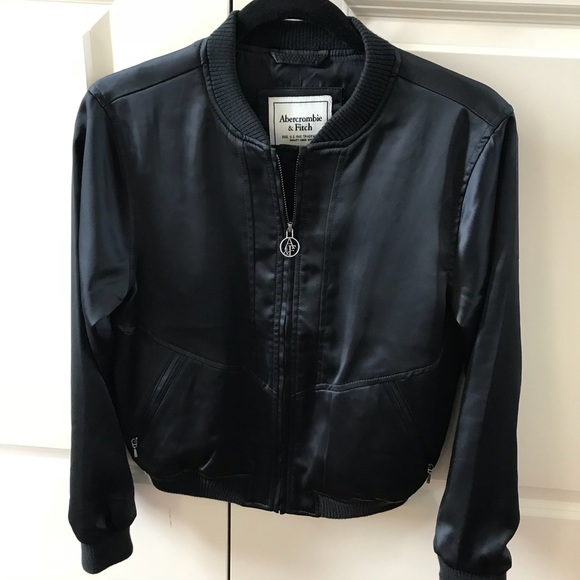 6be3463d7d2 Abercrombie   Fitch Jackets   Blazers - Abercrombie   Fitch XS black satin bomber  jacket